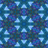 Sömlösa abstrakt begreppblått exponeringsglas-som geometrisk textur eller bakgrund Stock Illustrationer