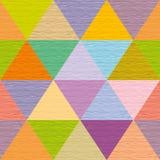 Sömlösa abstrakta mångfärgade trianglar Kulört träbräde Royaltyfri Foto