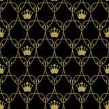 Sömlösa Art Nouveau Crowns Scale Pattern med guld royaltyfri fotografi