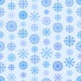 Sömlösa blått färgar modellen med snöflingor, enkel plan bakgrund för vinter Stock Illustrationer