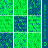 9 sömlösa blått för monogrammodellgräsplan Arkivbilder