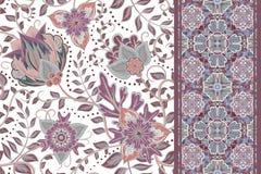 Sömlösa blom- bakgrunder och gräns stock illustrationer