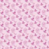 Sömlösa blom- modellabstrakt begrepprosebuds och rosa violet för sidor diagonalt Royaltyfri Foto