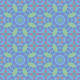 Sömlösa blom- prydnader tänder - gröna röda blått Arkivfoto