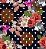Sömlösa blommor med pricken; rosor med liljan och zinnia på N vektor illustrationer