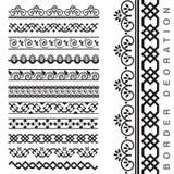 Sömlösa dekorativa gränser för vektor Royaltyfria Bilder