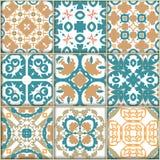 Sömlösa dekorativa tegelplattabakgrunder royaltyfri illustrationer