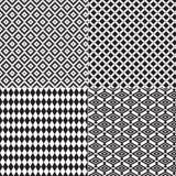 4 sömlösa Diamond Patterns Black White Royaltyfri Foto