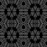 Sömlösa ellipser och spiralprydnader som är vita på svart Arkivfoto