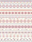 Sömlösa etniska modelltexturer Apelsin & lilafärger Arkivbilder