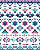 Sömlösa etniska modelltexturer Geometriskt tryck för abstrakt Navajo Rosa färg- och blåttfärger Arkivbild