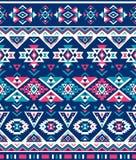 Sömlösa etniska modelltexturer Rosa färg- & marinfärger Geometriskt tryck för Navajo Lantlig dekorativ prydnad Royaltyfri Bild