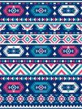 Sömlösa etniska modelltexturer Rosa färg- och blåttfärger Royaltyfri Bild