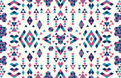 Sömlösa etniska modelltexturer Rosa färg- och blåttfärger Arkivbilder