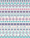 Sömlösa etniska modelltexturer Rosa färg- och blåttfärger Royaltyfri Fotografi