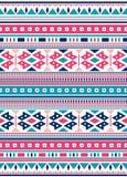 Sömlösa etniska modelltexturer Rosa färg- och blåttfärger Arkivbild