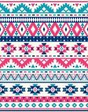 Sömlösa etniska modelltexturer Rosa färg- och blåttfärger Arkivfoto