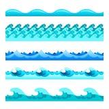Sömlösa för vågvektor för blått vatten musikband ställde in för footers, modeller och texturer Arkivbilder