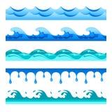 Sömlösa för vågvektor för blått vatten musikband ställde in för footers, modeller och texturer vektor illustrationer