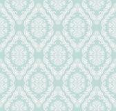 Sömlösa försiktig-blått retro damast tapet för design Royaltyfria Bilder
