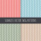 Sömlösa filialvektormodeller Den vita lodlinjen fattar med sidor på rosa beigabakgrund för blå gräsplan Hand tecknad prydnadset royaltyfri illustrationer
