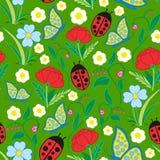Sömlösa Flora Fauna Pattern Arkivfoton