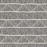 Sömlösa geometriska klotterlinjer modell i svartvitt Adstract hand dragen retro textur royaltyfri illustrationer