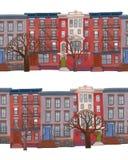 Sömlösa gränser av flervånings- byggnad med träd som gatateckning i plan stätta arkivbild