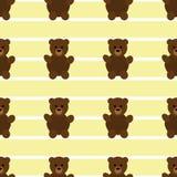 Sömlösa gula Teddy Bear Patten Arkivfoton