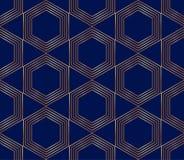 Sömlösa guld- linjer, geometrisk modern modell Sexhörningar på den blåa bakgrunden royaltyfri illustrationer