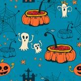 Sömlösa halloween med spökar på blå bakgrund. Royaltyfri Foto