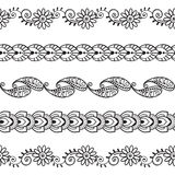 Sömlösa Henna Borders Vector Set Abstract blom- modeller 3 royaltyfri illustrationer