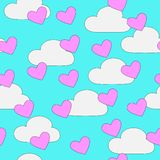 Sömlösa hjärtor och molnmodell Arkivbild