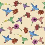 Sömlösa Hummigbird och tropiska blommor Royaltyfri Fotografi