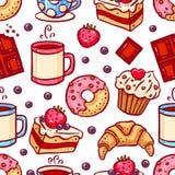 Sömlösa kaffe- och efterrättsymboler stock illustrationer