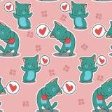 Sömlösa 2 katter älskar dig modellen royaltyfri illustrationer