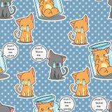 Sömlösa katter är den ledsna modellen royaltyfri illustrationer