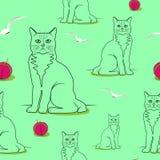 Sömlösa katter modell, fåglar, små kulor på ett ljus - grön backgrou arkivbild