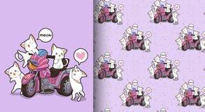 Sömlösa kawaiikatter och motortrehjulingmodell royaltyfri illustrationer