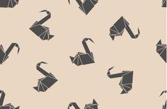 Sömlösa kranar för origami för japanskt papper för modell Kan användas för webbsidabakgrunder, yttersidatexturer, bakgrund på aff vektor illustrationer