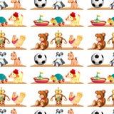 Sömlösa leksaker på hylla royaltyfri illustrationer