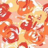 Sömlösa målarfärgslaglängder mönstrar gula orange och röda cirklar stock illustrationer