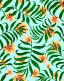 Sömlösa modell- och plumeriablommor för palmblad royaltyfri illustrationer