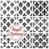 Sömlösa modellbakgrunder för kunglig fransk lilja royaltyfri illustrationer