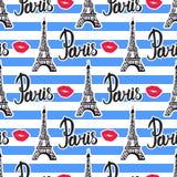 Sömlösa modellband på Paris Svart färgpulverEiffeltorn för illustration Vektor som isoleras på vitbakgrund Royaltyfri Bild