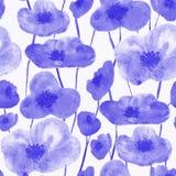 Sömlösa modellblått för vallmo stock illustrationer