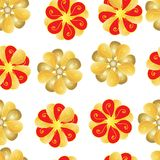 Sömlösa modeller av röda och gula blommor på vit bakgrund vektor illustrationer