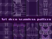 Sömlösa modeller för art déco Geometrisk sömlös modell för art déco Fastställda retro bakgrunder Arkivbilder