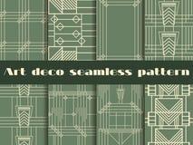 Sömlösa modeller för art déco Geometrisk sömlös modell för art déco Fastställda retro bakgrunder Arkivbild