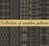 Sömlösa modeller för art déco Uppsättning av tio geometriska bakgrunder Stil20-tal, 30-tal Royaltyfria Foton